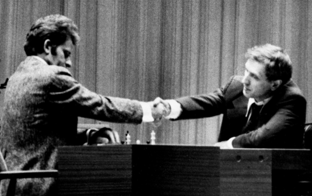 Boris Spassky and Bobby Fischer after Spassky won the first game of the 1972 World Chess Championship, held in Reykjavík, Iceland. Fischer went on to win the championship.