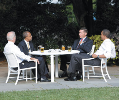 President Barack Obama and Vice President Joe Biden having a beer with Harvard professor Henry Louis Gates Jr. and Cambridge police sergeant James Crowley in the Rose Garden of the White House, July 30, 2009