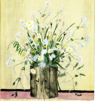 Elizabeth Bishop: Daisies in Paintbucket. Watercolor and gouache, 10½ x 9½ inches. Used as the jacket illustration for One Art: Letters. The lyrical, semi-abstract array of flowers--in short strokes and freely drawn delicate lines--fans out over the paint bucket, which is placed dead center and as far front as possible. It has the aplomb of a masterpiece.