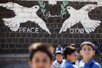 Children at the local school in the village of Ghajar, on Israeli-Lebanese border, which was recaptured during the 2006 war against Hezbollah in Lebanon, November 10, 2010