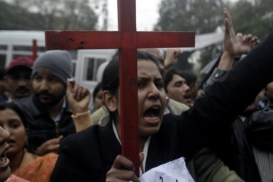 Protesters rallying to condemn the death of Shahbaz Bhatti, Lahore, March 2, 2011