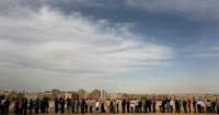 People lining up to vote in the constitutional referendum, Cairo, March 19, 2011