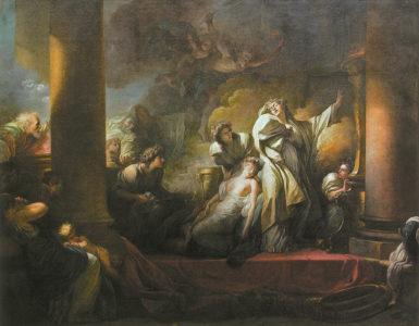 Jean-Honoré Fragonard: The High Priest Coresus Sacrificing Himself to Save Callirrhoe, 10.1 x 13.1 feet, 1765
