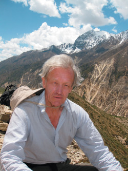 Colin Thubron in the Karnali River valley of Nepal, near the Tibetan border, May 2009