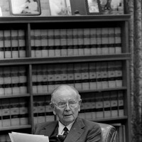 Justice William J. Brennan in his Supreme Court chambers, Washington, D.C., 1986