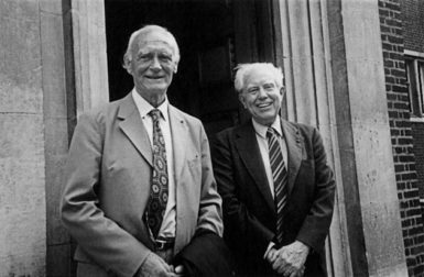 Elliott Carter (right) with William Glock, who as head of music at the BBC from 1959 to 1973 was one of the most important advocates of modernist music, at the back entrance of the Royal Albert Hall, London, 1985