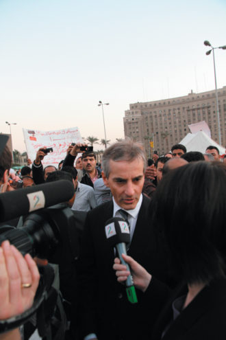 Norwegian Foreign Minister Jonas Gahr Støre, the author of this article, in Tahrir Square, Cairo, March 1, 2011