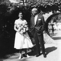 Maisie Houghton with her father, Francis Parker Kinnicutt, at her graduation from St. Timothy's School, Stevenson, Maryland, 1958