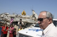 Richard Goldstone investigating the destroyed house where members of the Samouni family were killed during Israel's Operation Cast Lead in January 2009, Gaza City, June 3, 2009