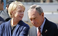 Cathie Black speaking with New York Mayor Michael Bloomberg during a groundbreaking ceremony in New York on April 6.  She resigned as Schools Chancellor the following day.