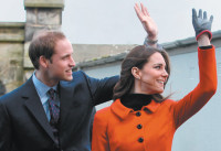 Prince William and Kate Middleton visiting the University of St. Andrews, February 25, 2011