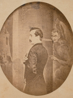 John Wilkes Booth with the devil whispering in his ear, 1865