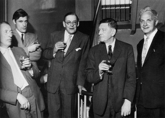 Louis MacNeice (far left) with Ted Hughes, T.S. Eliot, W.H. Auden, and Stephen Spender at a Faber and Faber cocktail party, 1960