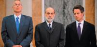 Former Treasury Secretary Henry Paulson, Federal Reserve Chairman Ben Bernanke, and Treasury Secretary Timothy Geithner; from Charles Ferguson's documentary film Inside Job