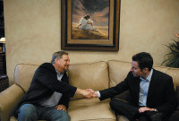 Sam Harris, right, with the evangelical pastor Rick Warren at a group discussion on religion and faith at Warren's Saddleback Church, Lake Forest, California, March 2007