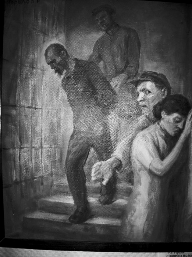 A depiction by the artist Igor Obrosov of 'interrogations' in Stalinist prisons, based on the memories of his brother; from Stephen Cohen's The Victims Return