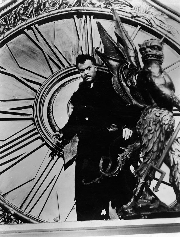 Orson Welles in the 1946 film The Stranger, drawn on for Christian Marclay's film The Clock
