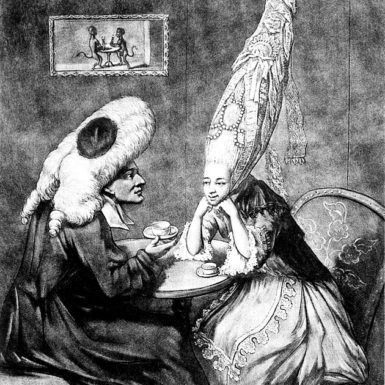 'Miss Prattle Consulting Doctor Double Fee About Her Pantheon Head Dress,' 1772; from the chapter 'The Dressing Room' in Bill Bryson's A Short History of Private Life