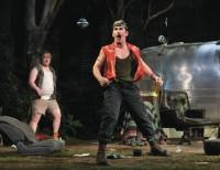 Mark Rylance, center, and Danny Kirrane in Jez Butterworth's play Jerusalem