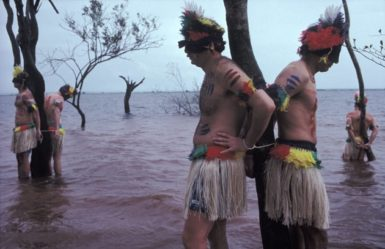 North American real estate salesmen undergoing mock initiation ceremony, Manaus, Brazil, 1993