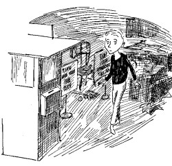 Milo approaching the tollbooth in his bedroom; illustration by Jules Feiffer from Norton Juster's <i>The Phantom Tollbooth</i>