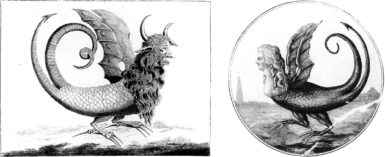 At left, a broadsheet engraving of a purported Chilean monster that aroused enormous interest in Paris in 1784; at right, the monster re-engraved with the face of Marie-Antoinette during the French Revolution