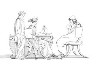 'Odysseus at the Table of Circe'; illustration by John Flaxman