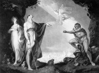 'The Enchanted Island: Before the Cell of Prospero'; engraving of a scene from The Tempest by Jean Pierre Simon after a painting by Henry Fuseli, 1797