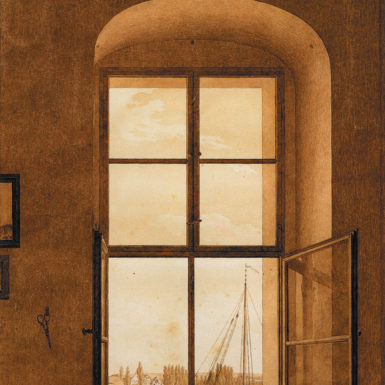 Caspar David Friedrich: View from the Artist's Studio, Window on the Right, 12 1/4 x 9 3/8 inches, circa 1805–1806