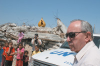 UN investigator Richard Goldstone visiting the destroyed house where members of the al-Samouni family were killed during Israel's Operation Cast Lead, Gaza City, June 3, 2009