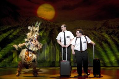 Rema Webb, Andrew Rannells, and Josh Gad in The Book of Mormon