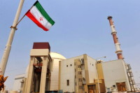 The reactor building at the Russian-built Bushehr nuclear power plant as the first fuel is loaded, August 21, 2010