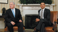 Barack Obama and Benjamin Netanyahu at a meeting in the Oval Office, May 20, 2011