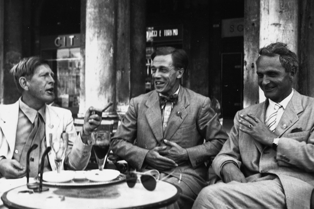 W. H. Auden, Cecil Day-Lewis, and Stephen Spender during a PEN conference in Venice, 1949