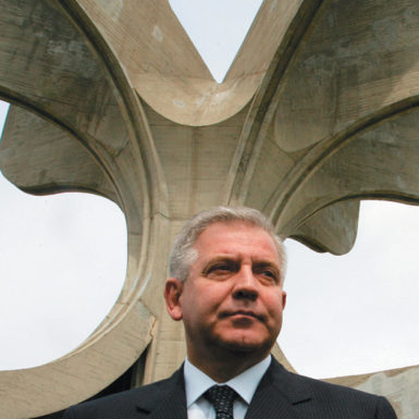 Former Croatian prime minister Ivo Sanader at the Jasenovac Memorial Area, where, in April 2005, he gave a speech expressing regrets to the Serbian, Jewish, Roma, and Croatian victims of the mass killings carried out by the Ustasha during World War II. He was arrested on charges of corruption in December 2010 and is awaiting trial.