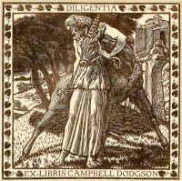 Bookplate designed by Thomas Sturge Moore for Campbell Dodgson, keeper of the British Museum's Department of Prints and Drawings, 1909. This bookplate and the one on page 66 are collected in Martin Hopkinson's Ex Libris: The Art of Bookplates, just published by Yale University Press.