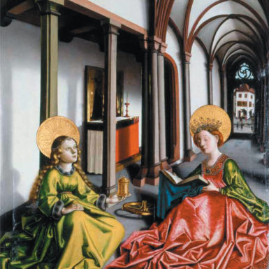 Konrad Witz: Saints Catherine and Mary Magdalene in a Church, circa 1440–1445
