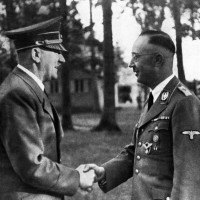 Adolf Hitler congratulating Heinrich Himmler on his appointment to the post of Germany's minister of the interior, 1943