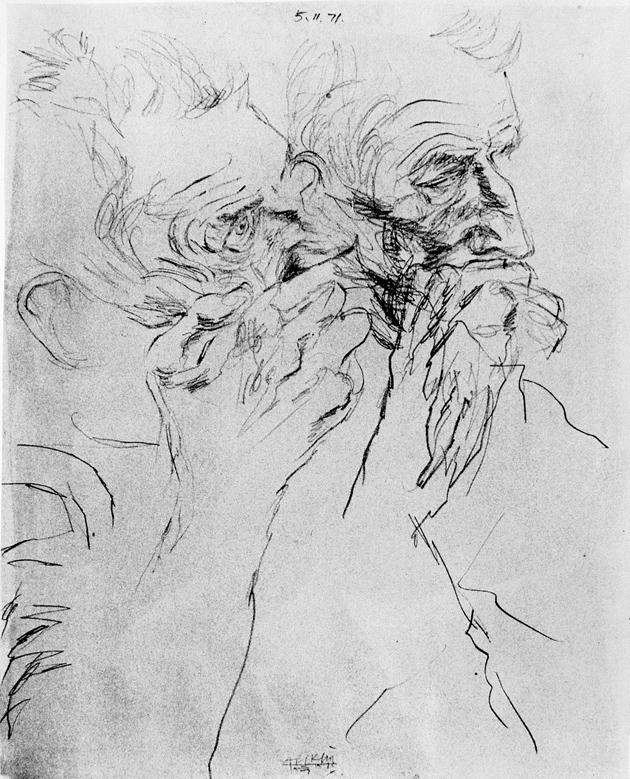 'Samuel Beckett: Double Profile'; drawing by Avigdor Arikha, 1971