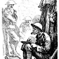 "'Vague Tommy (writing letter). ""Wot day is it?"" Chorus. ""The fourteenth."" Tommy. ""Wot month?"" Chorus. ""October."" Tommy. ""Wot Year?""' This cartoon, by James Henry Dowd, first appeared in Punch in 1917; it and the cartoon on page 32 are collected in The Best of Punch Cartoons, edited by Helen Walasek and published recently by Overlook Press."