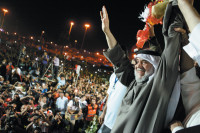 Hassan Mushayma, leader of the banned opposition group al-Haq, at a protest in the Pearl Roundabout, Manama, Bahrain, after his return from exile in London, February 26, 2011