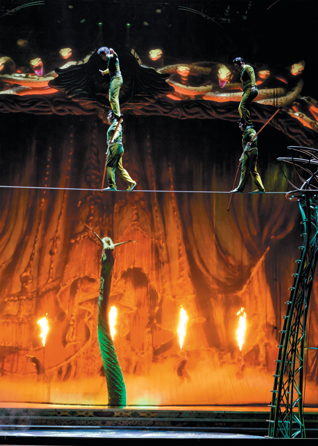 A scene from Cirque du Soleil's Zarkana at Radio City Music Hall, with digital snakes shown on an LED wall