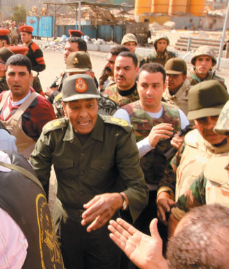 Field Marshal Mohammed Hussein Tantawi, commander in chief of the Egyptian armed forces, meeting with antigovernment protesters in Tahrir Square, Cairo, February 4, 2011. When President Hosni Mubarak resigned on February 11, Tantawi became the chairman of the Supreme Council of the Armed Forces and the de facto head of state.