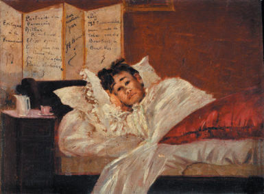 Arthur Rimbaud in bed after Paul Verlaine shot him in the wrist; painting by Jef Rosman, 1873