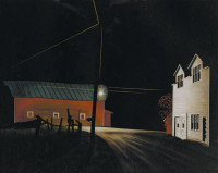 George Ault: Bright Light at Russell's Corners, 19 5/8 x 25 inches, 1946