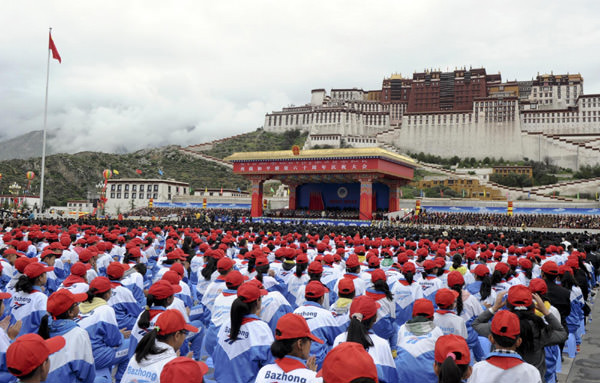 Audience members at the ceremony for 'the sixtieth anniversary of the liberation of Tibet,' Lhasa, July 19, 2011