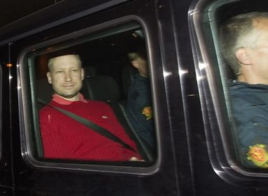 Anders Behring Breivik leaving the Oslo Municipal Court, Norway, July 25, 2011
