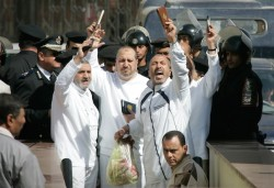 Members of the Muslim Brotherhood outside a Cairo court, February 2007. Internal CIA documents describe the movement as a potential ally against Islamist terrorism.