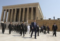 Prime Minister Recep Tayyip Erdogan and top military commanders at the mausoleum of Kemal Ataturk after the military's annual meeting, August 1, 2011, Ankara, Turkey