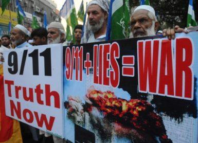 Activists of Jamaat-e-Islami protesting, September 11, 2011, Lahore, Pakistan